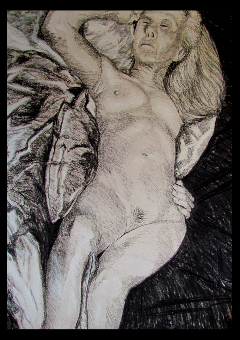 Charcoal and white conte on paper.