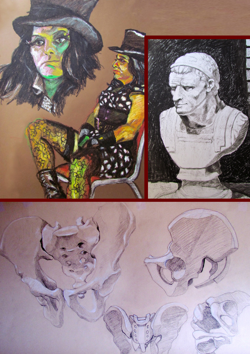 Oil pastels on paper, charcoal on paper, pencil and conte on paper.